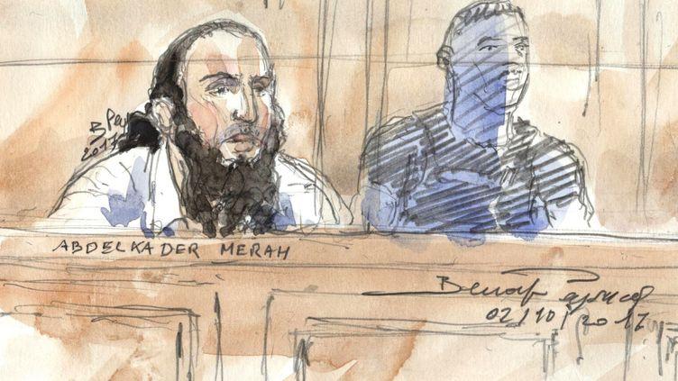 Dessin d'Abdelkader Merahà l'ouverture de son procès, le 2 octobre 2017 à Paris. (BENOIT PEYRUCQ / AFP)