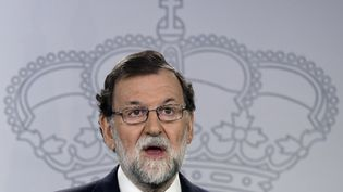 Le chef du gouvernement espagnol Mariano Rajoy, lors d'une conférence de presse, à Madrid, le 20 septembre 2017. (JAVIER SORIANO / AFP)