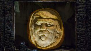 """Le visage de Donald Trump sculpté dans une citrouille à l'occasion du """"National Pumpkin Day"""", le 26 octobre 2016.  (GUY BELL/SHUTTERSTOCK/SIPA / REX)"""