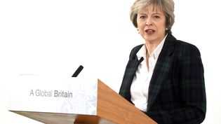 La Première ministre britannique, lors de son discours sur le Brexit, le 17 janvier à Londres. (ALPHA PRESS / MAXPPP)