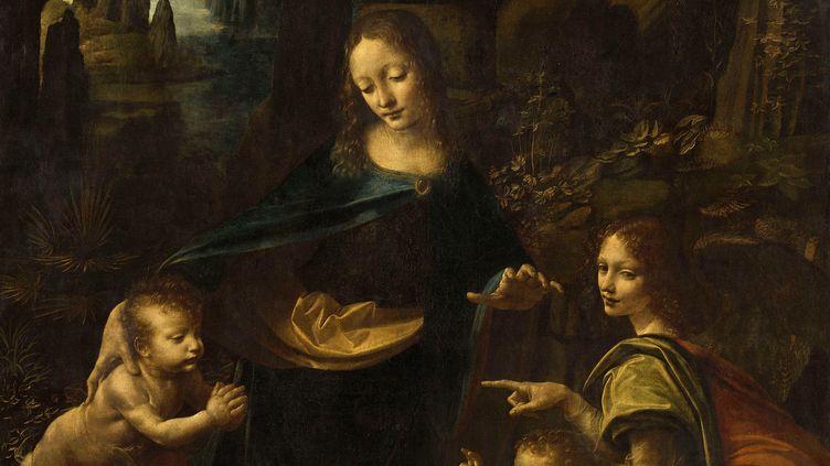 """Léonard de Vinci, """"Vierge à l'Enfant avec saint Jean Baptiste et un ange"""", dite """"La Vierge aux rochers"""", vers 1483-1494, Paris, musée du Louvre,département des Peintures (© RMN Grand Palais (musée du Louvre) / Michel Urtado)"""