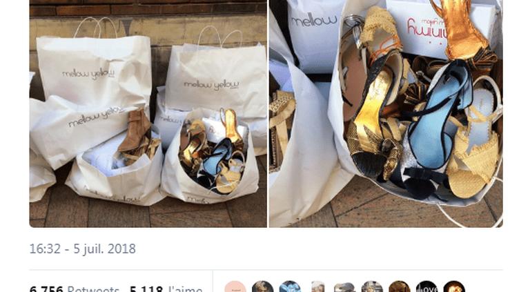 Capture d'écran du tweet posté le 6 juillet 2018 par un internaute pour montrer des chaussures Mellow Yellow préalablement dégradées avant d'être jetées dans la rue. (JURISTIC / TWITTER)