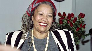 Toni Morrison dans son bureau à l'université de Princeton dans le New Jersey en octobre 1997. (DON EMMERT / AFP)