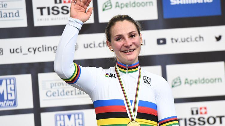 Kristina Vogel aux championnats du monde de cyclisme sur piste à Aperldoorn aux Pays-Bas, le 2 mars 2018. (EMMANUEL DUNAND / AFP)