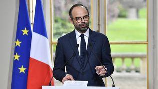 Le Premier ministre, Edouard Philippe, lors de l'annonce des grandes lignes de la réforme des institutions, mercredi 4 avril 2018 à Paris. (GERARD JULIEN / AFP)