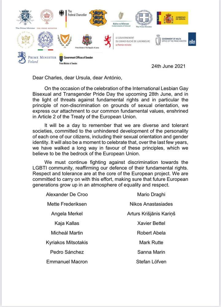 La lettre commune de 16 dirigeants de pays de l'UE adressée, le 24 juin 2021, aux dirigeants de l'Union européenne. (DOCUMENT FRANCE TELEVISIONS)