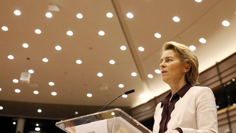 Ursula von der Leyen, la présidente de la Commission européenne, le23 juillet 2020. (FRANCOIS WALSCHAERTS / POOL)