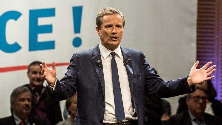 Nicolas Dupont-Aignan, candidat de Debout la France à l'élection présidentielle, à Lyon (Rhône), le 8 avril 2017. (NICOLAS LIPONNE / NURPHOTO / AFP)