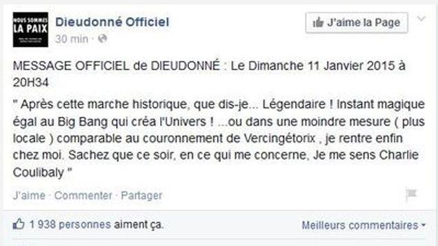 (La publication Facebook de Dieudonné dimanche soir a fait polémique © capture d'écran Facebook)