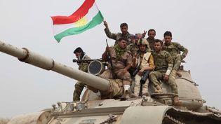 Des soldats Kurdes Peshmergas sur la ligne de front, à 35 kilomètres au sud de Kirkouk, en Irak, en mai 2016. (MARWAN IBRAHIM / AFP)