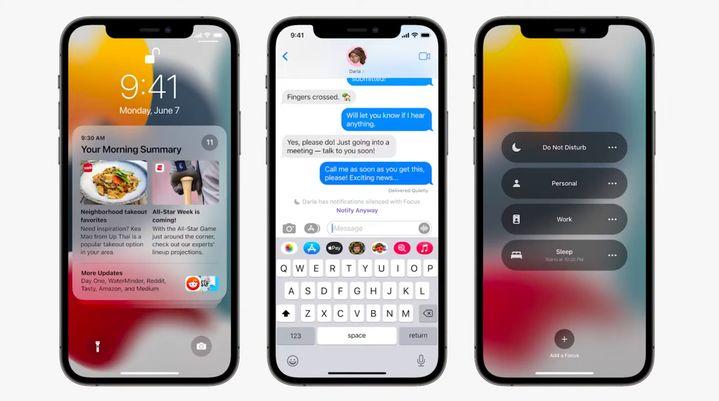 """À gauche le nouvel aspect du centre de notifications. Au centre le message que voient vos contacts quand """"ne pas déranger"""" est activité.À droite les différents modes """"ne pas déranger"""" bientôt disponibles. (APPLE)"""