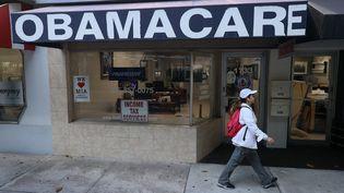 Une agence de santé Obamacare, le 28 janvier 2021 à Miami, en Floride. (JOE RAEDLE / GETTY IMAGES NORTH AMERICA / AFP)