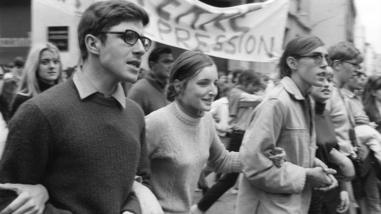 Manifestation étudiante le 13 mai 1968 à Paris, au pic du mouvement. (JACQUES MARIE / AFP)
