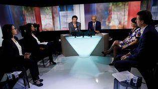 Cécile Duflot, Karima Delli, Michèle Rivasi et Yannick Jadot ont participipé au premier débat dans le cadre de la primaire d'Europe-Ecologie-Les-Verts, mardi 27 septembre. (THOMAS SAMSON / AFP)