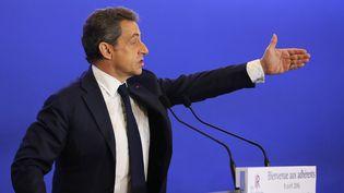 Le président des Républicains, Nicolas Sarkozy, lors d'un discours au siège du parti le 9 avril 2016. (SEVGI / SIPA)