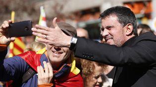Manuel Valls à Barcelone (Catalogne, Espagne), le 18 mars2018,lors d'une manifestation pour soutenir l'unité de l'Espagne. (PAU BARRENA / AFP)