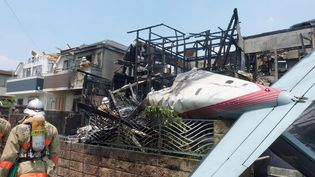 La carcasse d'un avion de tourisme, après son crash sur un quartier résidentiel de Tokyo, au Japon, le 26 juillet 2015. (MAXPPP)