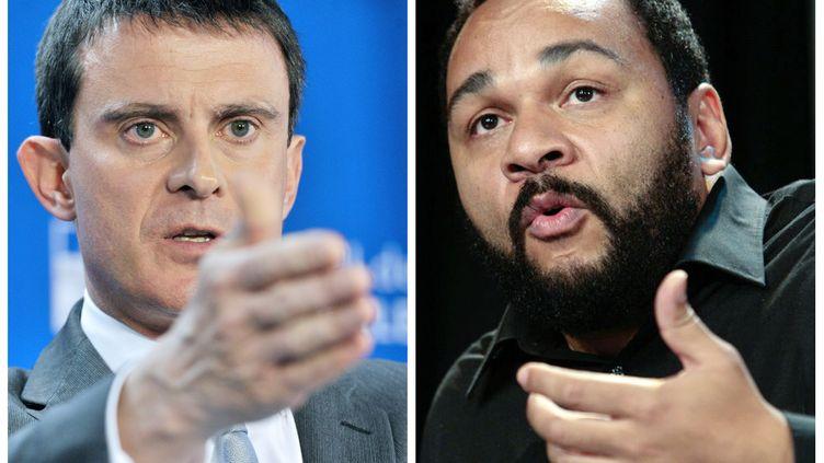 Manuel Valls (à gauche), le 7 janvier 2014 à Bruxelles (Belgique) et Dieudonné M'bala M'bala (à droite), le 29 novembre 2009 à Paris. (GEORGES GOBET / AFP)