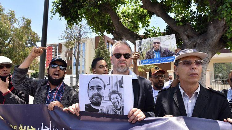 Le secrétaire général de Reporters sans Frontières, Christophe Deloire, à une manifestation de soutien au journaliste marocain Soulaimane Raissouni à Casablanca, le 22 juin 2021. (JALAL MORCHIDI / ANADOLU AGENCY)
