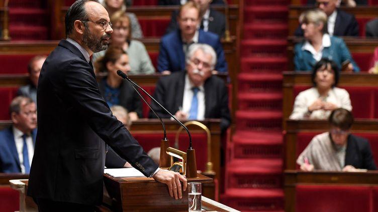 Edouard Philippe fait son discours de politique générale devant l'Assemblée, à Paris, le 12 juin 2019. (ALAIN JOCARD / AFP)