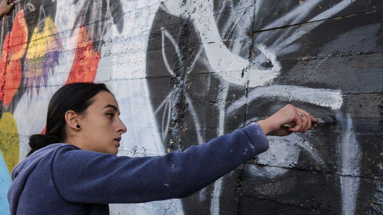 La street artiste Suha Sultan à Amman (16 décembre 2017)  (Khalil Mazraawi / AFP)