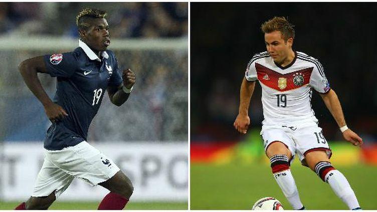 Paul Pogba et Mario Götze, deux des hommes forts du duel France-Allemagne. (AFP)