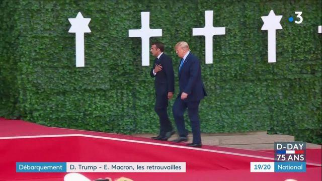 Débarquement : les retrouvailles d'Emmanuel Macron et Donald Trump