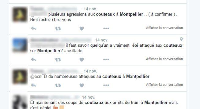 (De nombreux utilisateurs de Twitter évoquent des agressions au couteau à Montpellier © Capture d'écran Twitter)