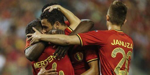 Des joueurs belges se congratulent après leur victoire contre la Tunisie (7 juin) (THIERRY ROGE / BELGA MAG / BELGA/AFP)