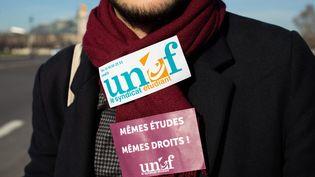 Un militant de l'Unef, le 14 février 2019, à Paris. (ALEXIS SCIARD  / MAXPPP)