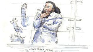 Abdelkader Merah dans le box des accusés audeuxième jour de son procès devant la Cour d'assises spécialement composée, à Paris, le3 octobre 2017. (BENOIT PEYRUCQ / AFP)