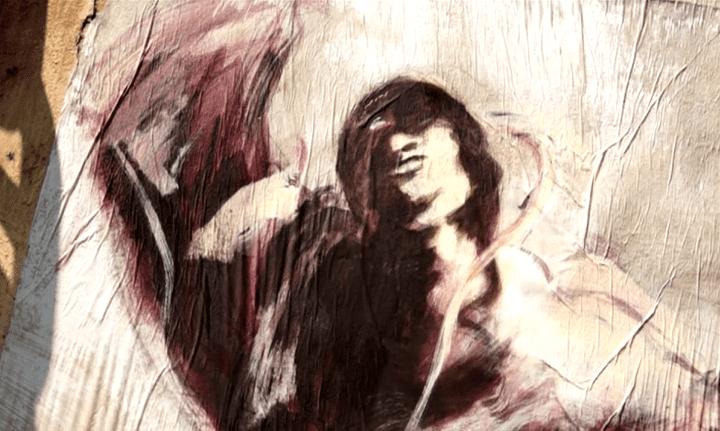 """Détail d'un """"personnage"""" de Paul Bloas, collé sur une épave de la rade de Brest  (France 3 culturebox)"""