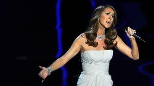 Céline Dion chante sur la scène du Kodak Theatre de Hollywood (Californie), le 27 février 2012. (GABRIEL BOUYS / AFP)