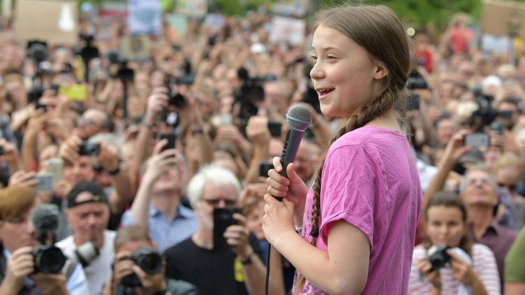 La militanteGreta Thunberg, à Berlin lors d'une manifestation pour le climat, le 19 juillet 2019. (PAUL ZINKEN / DPA)