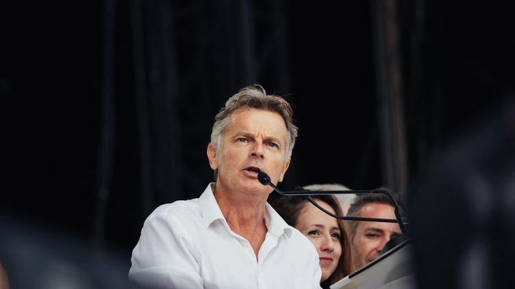 Le candidat PCF à la présidentielle Fabien Roussel,le 11 septembre 2021, à La Courneuve (Seine-Saint-Denis). (UGO PADOVANI / HANS LUCAS / AFP)