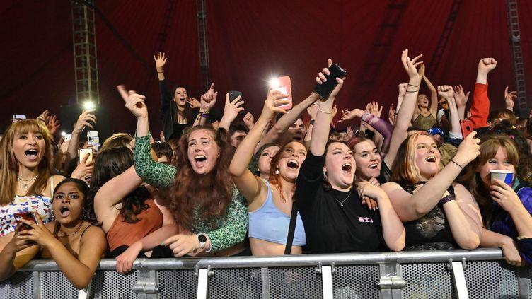 Des fans en joie assistentau concert-test organisé le 2 mai 2021 au Sefton Park de Liverpool (PAUL ELLIS / AFP)