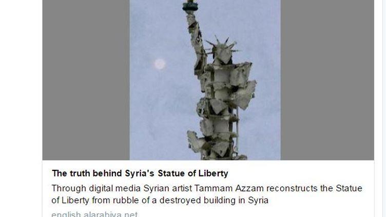 Capture d'écran du tweet de l'artiste syrien Tammam Azzam, qui reprend l'article d'Al Arabiya publié le 23 octobre 2016. (Tammam Azzam / Twitter)