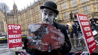 Un Britannique manifeste contre le Brexit, le 12 mars 2019 à Londres. (NIKLAS HALLE'N / AFP)