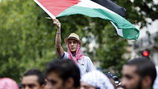 Un manifestant pro-palestinien, le 13 juillet 2014 à Paris. (KENZO TRIBOUILLARD / AFP)