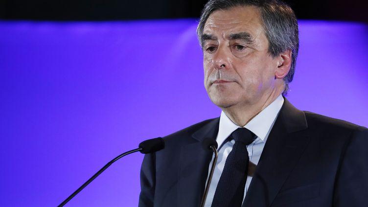 François Fillon prononce un discours à Maisons-Alfort (Val-de-Marne)24 février 2017. (PATRICK KOVARIK / AFP)