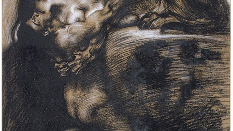 """Franz von Stuck, """"Le Baiser du Sphinx"""", après 1895. Fusain, pierre noire et rehauts de blanc sur papier brun clair, 55 x 48,5 cm. Collection particulière. (DR)"""