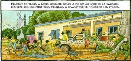 """Une planche de """"Tempête à Bangui""""  (La Boîte à Bulles)"""