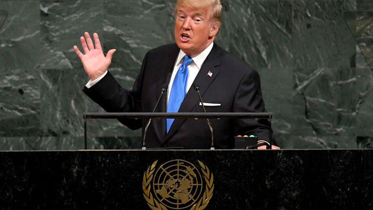 Le président des Etats-Unis, Donald Trump, au siège del'ONU, à New York, mardi 19 septembre 2017. (TIMOTHY A. CLARY / AFP)