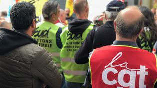 Manifestation de cheminots à Dijon (Bourgogne), le 25 mai 2018. (PHILIPPE RENAUD / RADIO FRANCE)