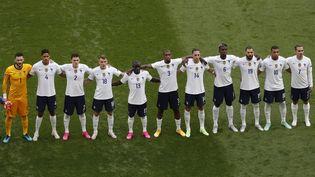 L'équipe de France avant le match contre la Hongrie à Budapest le 19 juin 2021. (LASZLO BALOGH / AFP)