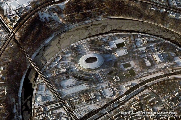 Le stade Luzhniki de Moscou (Russie), photographié par la société Deimos Imaging. (DEIMOS IMAGING / URTHECAST)