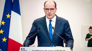 Le Premier ministre Jean Castex en conférence de presse, le 14 janvier 2021. (GABRIELLE C?ZARD / HANS LUCAS/AFP)