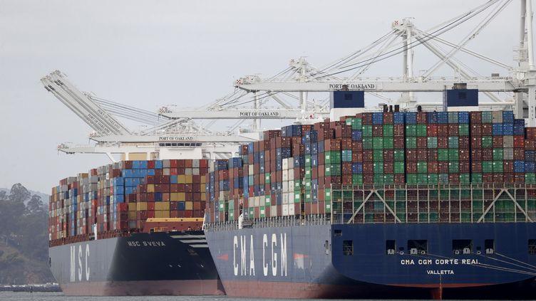 Le port californien d'Oakland aux Etats-Unis, en mars 2021 (JOHN G. MABANGLO / EPA)
