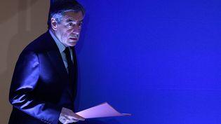 Le candidat de la droite et du centre à la présidentielle, François Fillon, lors d'une conférence de presse, le 6 février 2017 à Paris. (MARTIN BUREAU / AFP)