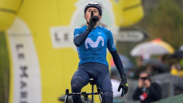 Marc Soler (Movistar) remporte la troisième étape du Tour de Romandie et prend la tête du classement général. (FABRICE COFFRINI / AFP)